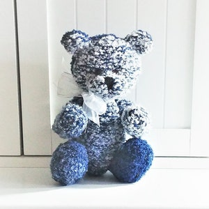 12 Pastel Rainbow Acrylic /& Wool Hand Knitted Jointed Teddy Bear with Ivory Satin Ribbon 30.48 cm