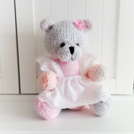 """HAND KNITTED  WINTER 12/"""" SCARF FOR YOUR  TEDDY BEAR."""