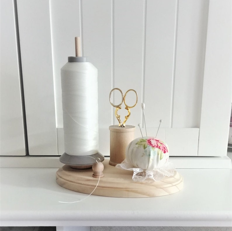 5 x 7 Wooden Thread Holder with Pincushion and Scissor Holder Red Rose Oval Wood Base Spool Holder
