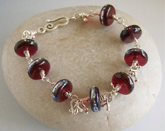 Red Lampwork Beaded Bracelet Dark Red Glass Sterling Silver Wine Red Wire Wrapped Jewelry