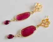 Ruby Gemstone Drop Earrings Genuine Garnet Earrings Gemstone Faceted Gold Earrings July Birthday Ruby Anniversary Red Wedding Jewelry