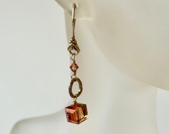 Long Crystal Earrings Copper Crystal Cube Dangle Topaz Cubes on Brass Ear Wires