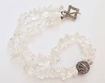 Chunky Quartz Beaded Necklace Clear Crystal Sterling Silver Statement Necklace with Thai Focal Bead