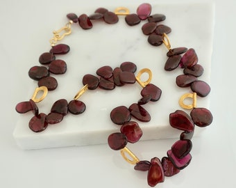 Raw Garnet Necklace Natural Red Gemstone  Chunky Red Garnet January Birthstone