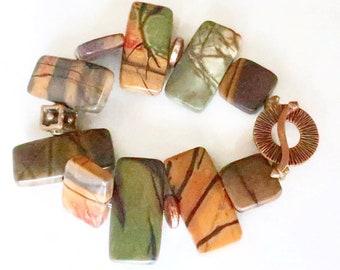 Green Gold Brown Jasper Bracelet Chunky Stone Earthy Rustic Jewelry Nature Inspired Boho Bronze Beaded