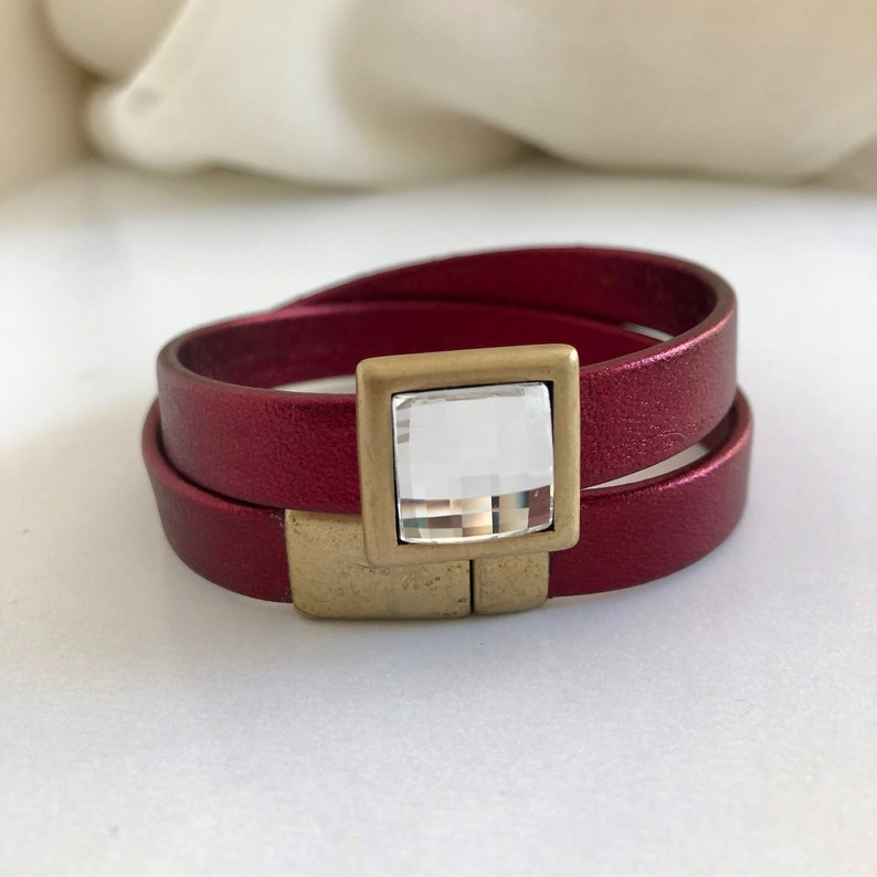 Woman's Leather Double Wrap Bracelet Red Leather Wrap image 0
