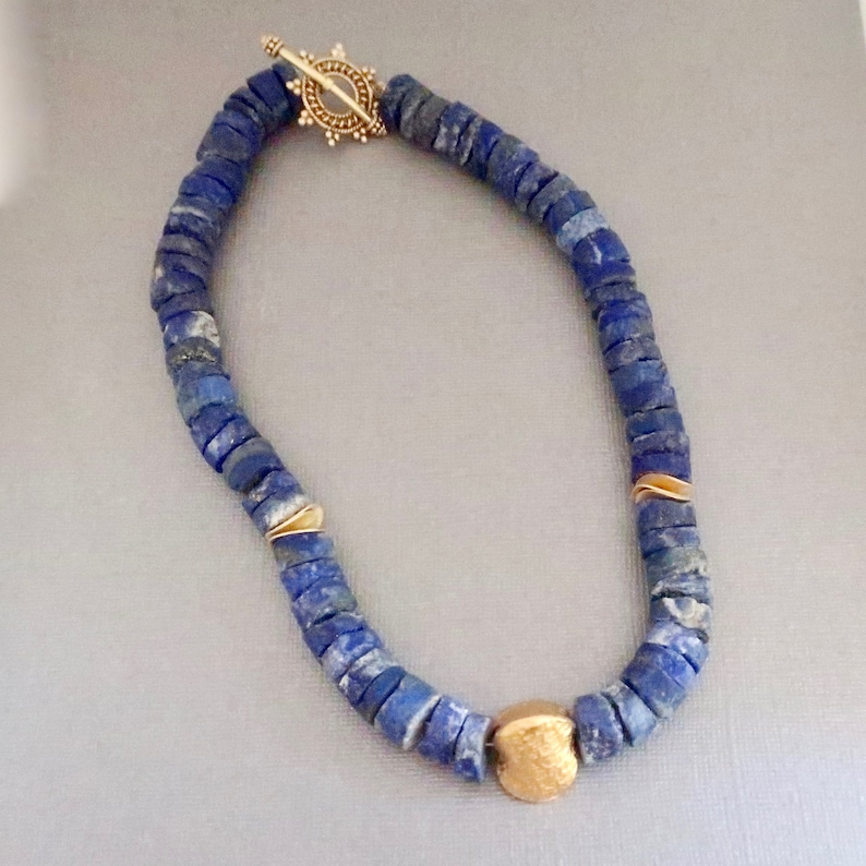 Raw Lapis Necklace Natural Lapis Blue Chunky Necklace with image 0