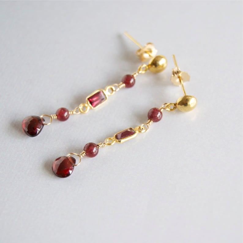 Gold Garnet Dangling Earrings Long Red Gemstone Earrings Red image 0
