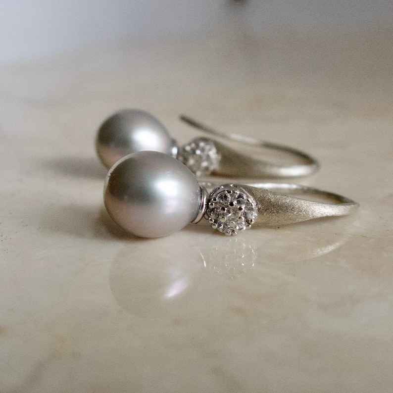 Gray Drop Pearl on Sterling Silver Gray Pearls Pearl image 0