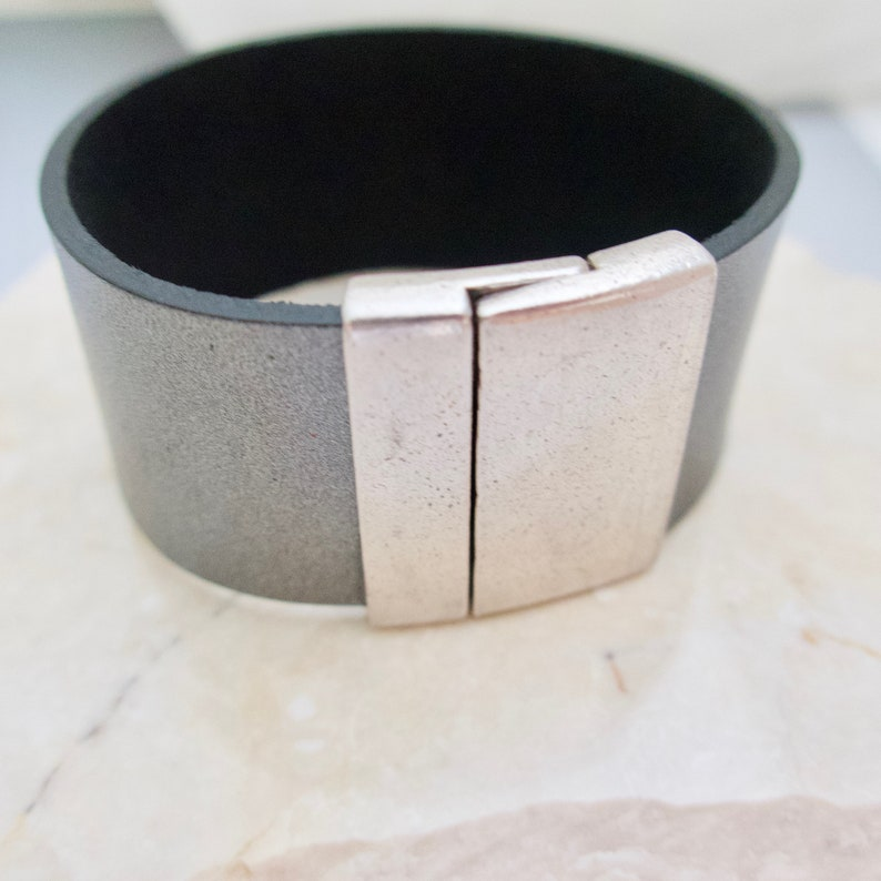 Gray Leather Cuff Bracelet Wide Leather Cuff Antique Silver image 0