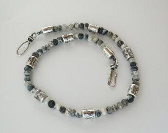 Dendritic Opal Necklace Black White Opal Gemstone Necklace Greek Ceramic Silver Tubes Handmade Sterling Hook Clasp