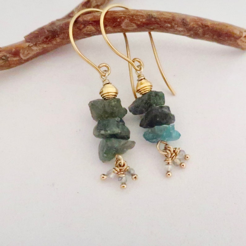 Blue Apatite Earrings with Tiny Gemstone Dangles Raw Blue image 0
