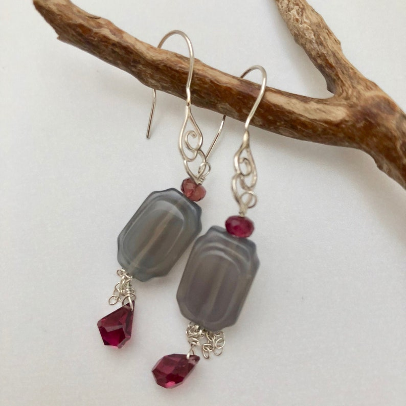 Gray Chalcedony Earrings Gray and Red Gemstone Gray Sterling image 0