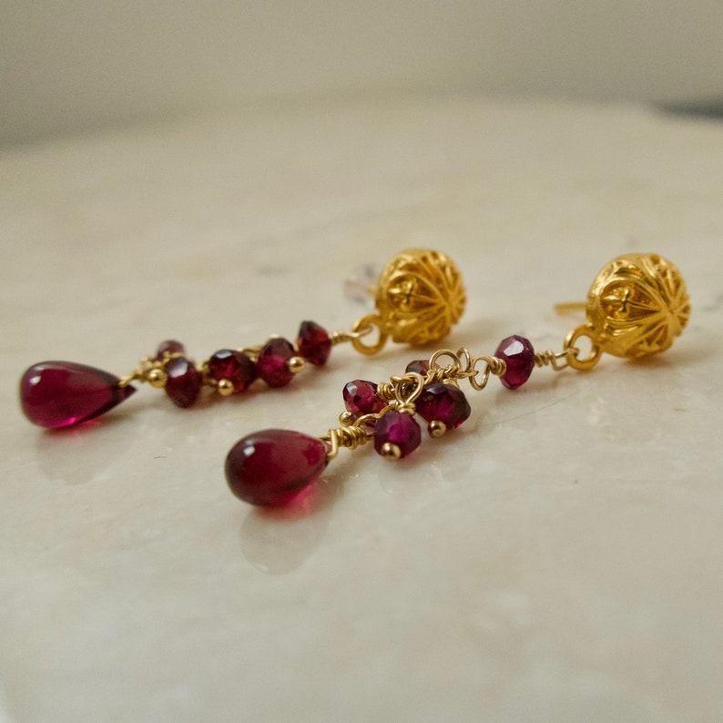 Garnet Gold Dangle Earrings Red Gemstone Cascade Rhodolite image 0