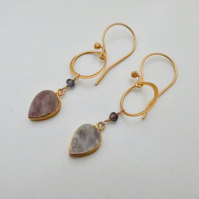 Druzy Earrings on Gold Hoops Gray Gold Druzy with Blue image 0