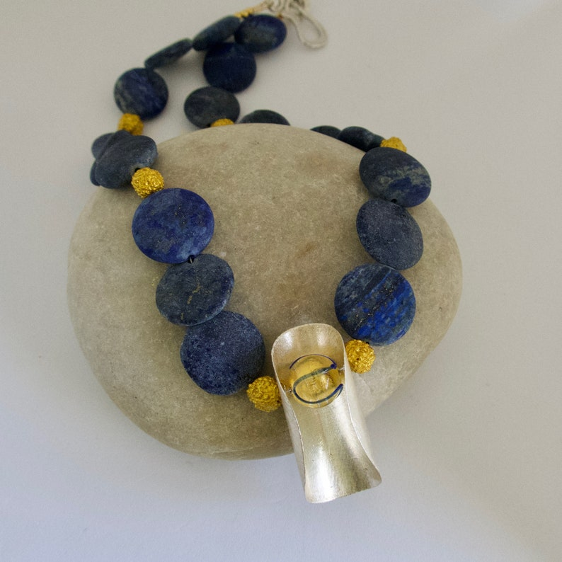 Natural Lapis Necklace  Chunky Lapis Gold and Silver Blue image 0