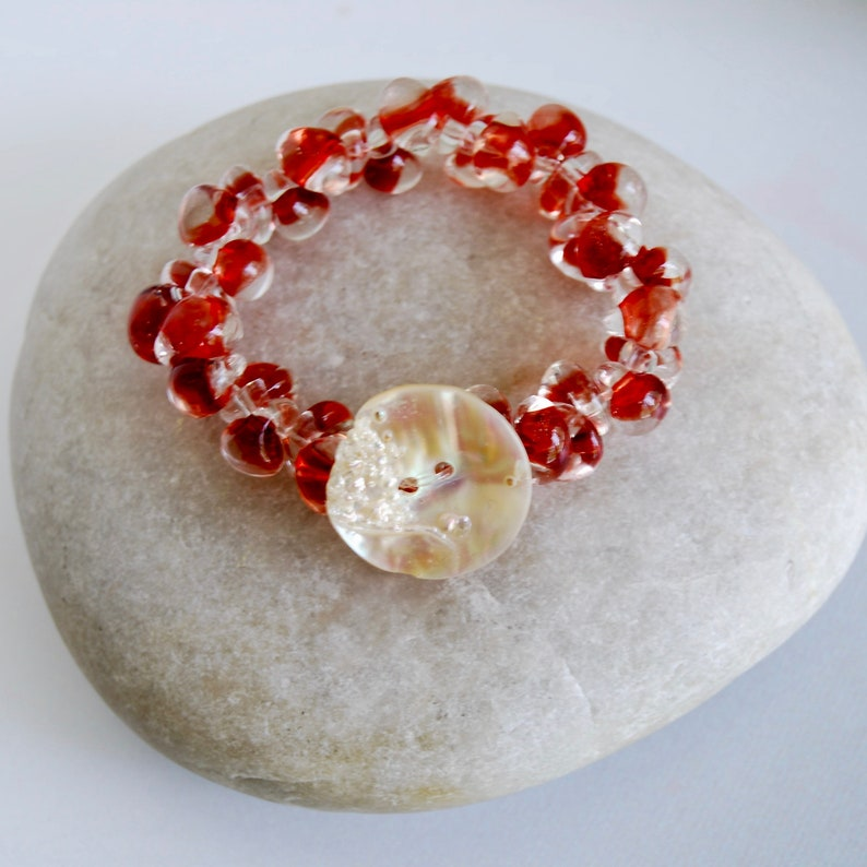 Red Lampwork Small Beaded Bracelet Vintage Button Stretch image 0