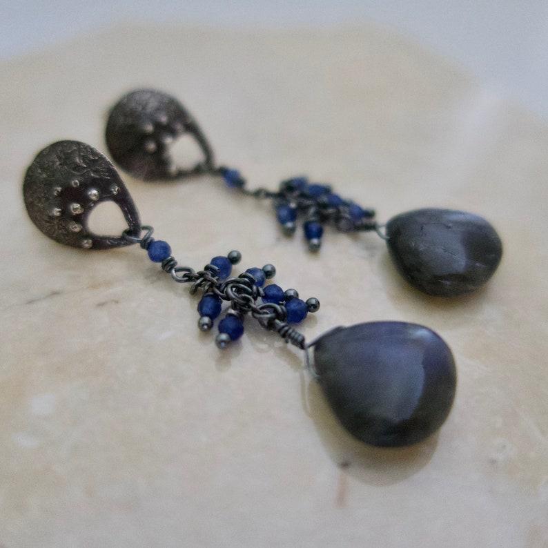 Dangling Labradorite Earrings on Sterling Silver Long Blue image 0