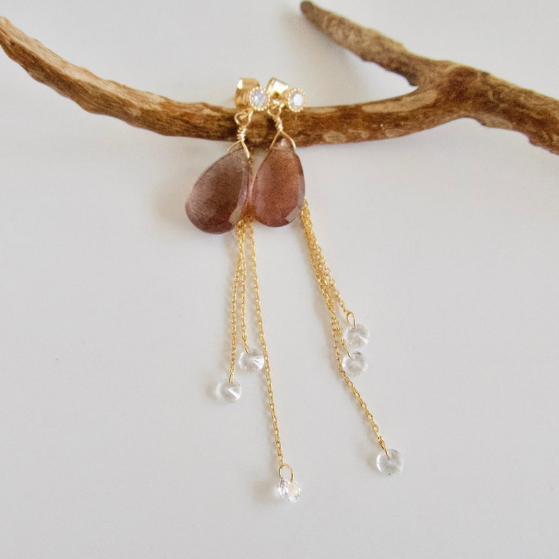 Pink Purple Gemstone with Chain Earring Jackets Dangling image 0