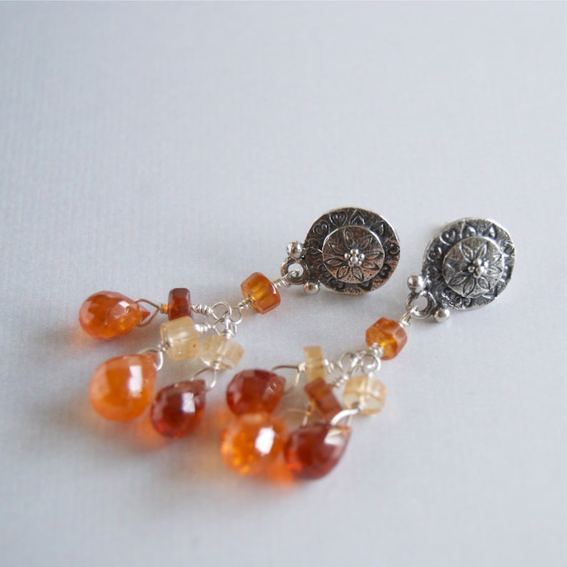Orange Garnet Dangling Gemstone Earrings Gemstone Cascade on image 0