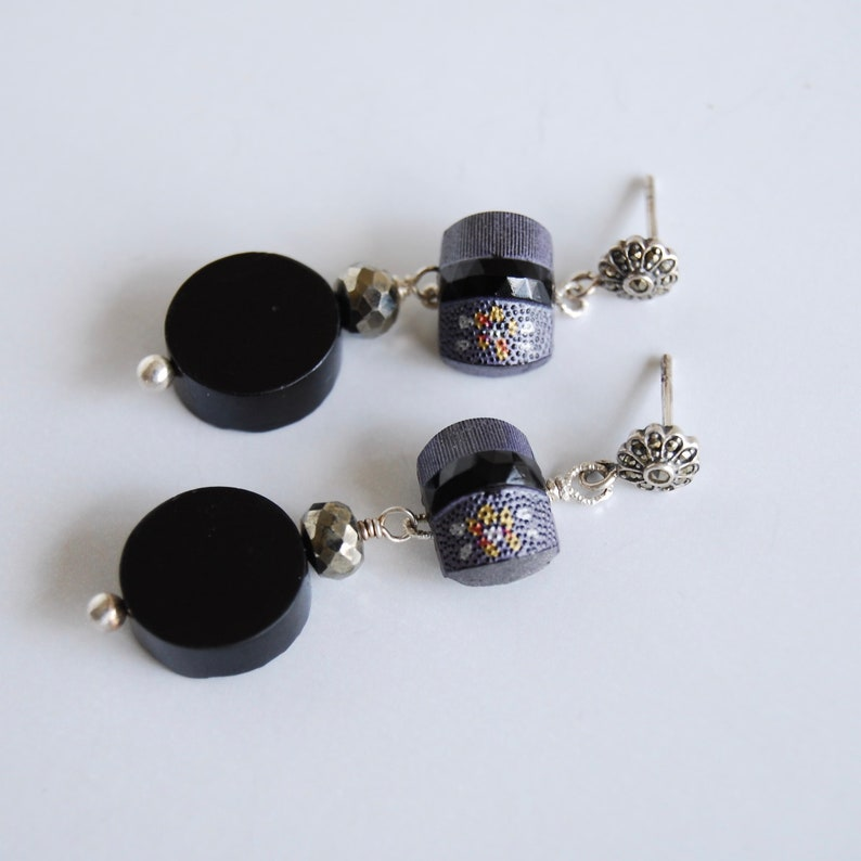 Antique Button Earrings Victorian Style Black Gemstone image 0