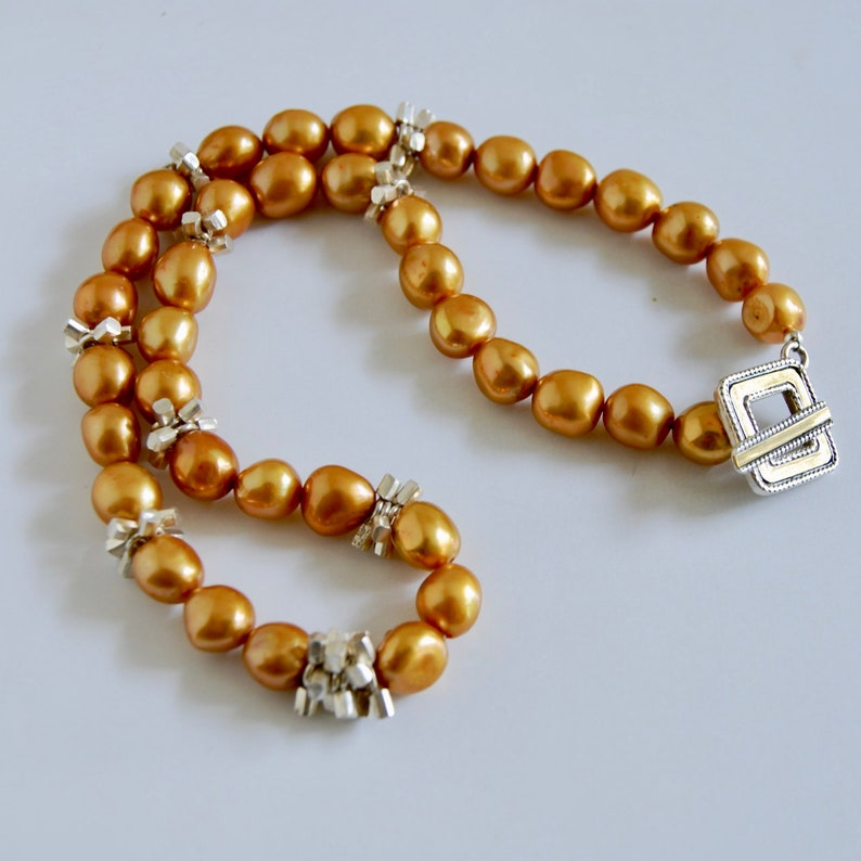 Gold Real Pearl Necklace with Sterling and Gold Clasp Gold image 0