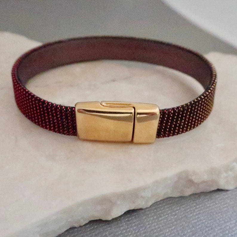 Metallic Red Leather Bracelet with Gold Magnetic Clasp Xmas image 0