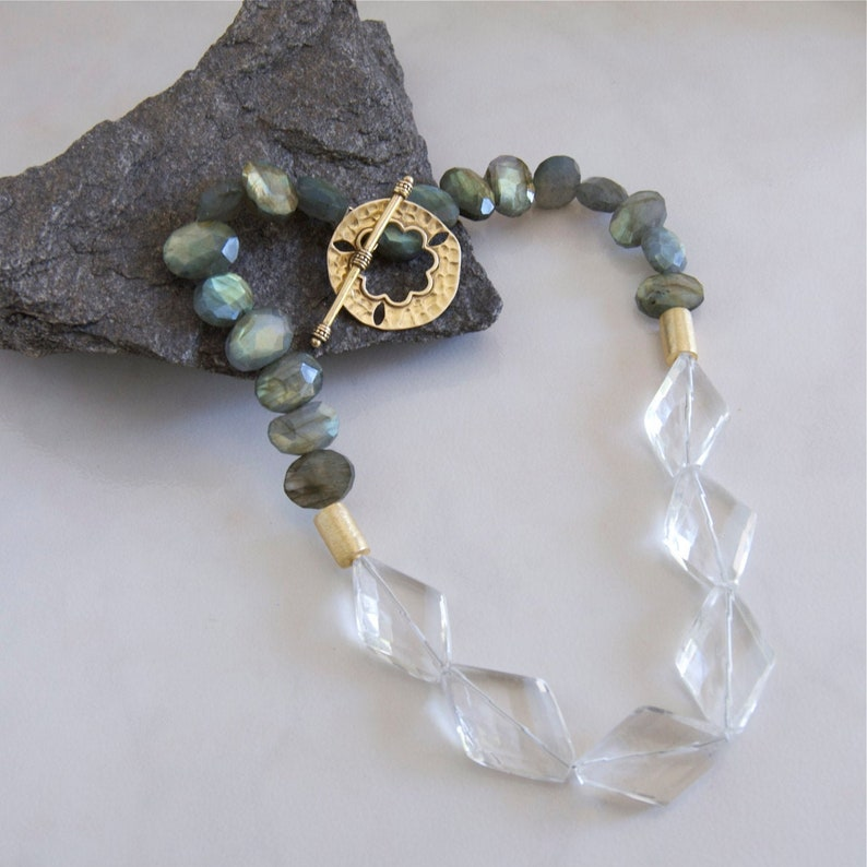 Chunky Gemstone Necklace for Women Faceted Labradorite image 0