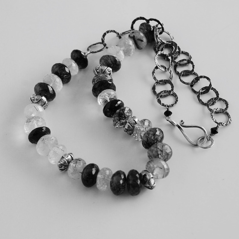 Black Rutile Quartz Necklace with Black White Quartz image 0