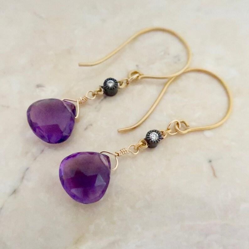 Gold Amethyst Gemstone Earrings Gold  Vermeil  Genuine image 0