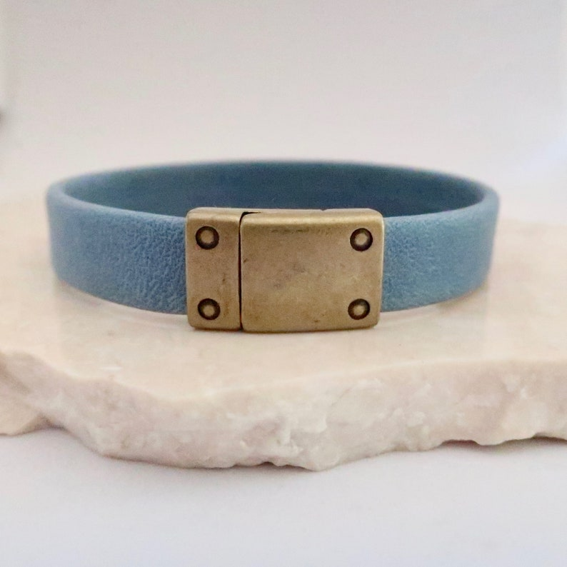Light Blue Leather Bracelet with Antique Brass Magnetic Clasp image 0
