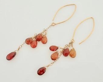 Long Garnet Earrings Orange Red Gemstone Dangles January Birthday Cascading Red Gemsttones