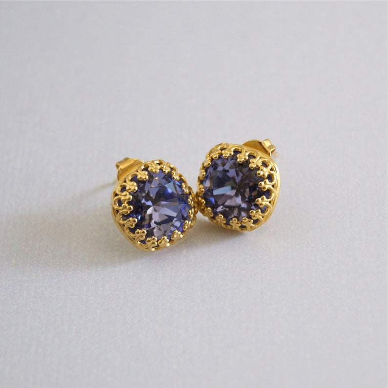 Purple Square Stud Earrings Swarovski Gold  Filigree image 0