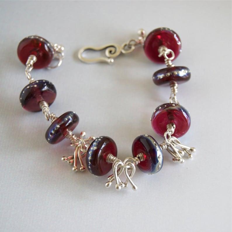 Dark Red Artisan Lampwork Bead and Sterling Bracelet Red image 0