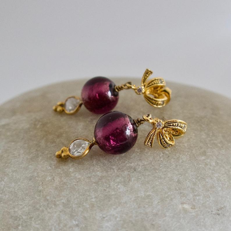Purple Lampwork  Earrings Purple Murano Glass Purple and image 0