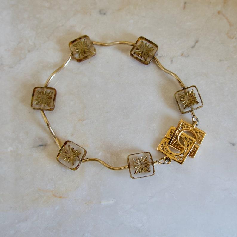 Czech Glass Gold Bracelet Gold Square Glass Bracelet Gold image 0
