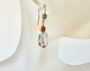 Green Amethyst Drop Earrings Dainty Gold Flower Green Gemstones CZ Earrings February Birthday