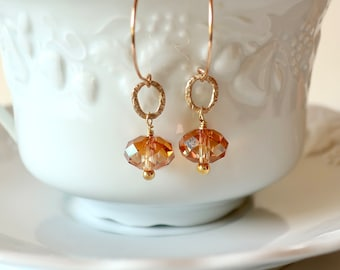 Copper Crystal Color Gold Drop Earrings on Bronze Hoops Fine Crystal Faceted Dangles