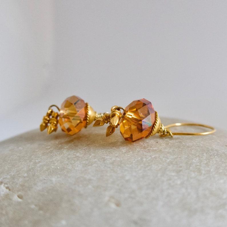 Golden Swarovski Dangle Earrings Copper Swarovski Crystal image 0