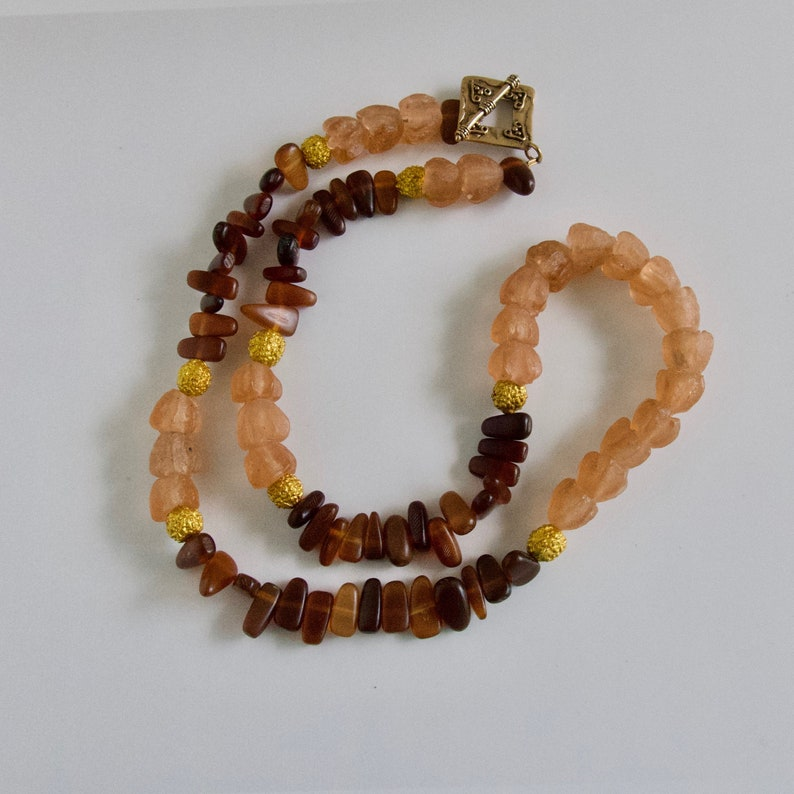 African Glass Necklace Recycled Glass Bead Eco Friendly image 0