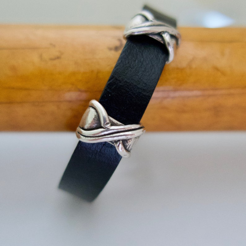 Black Leather and Silver Bead Bracelet for Women Antique image 0