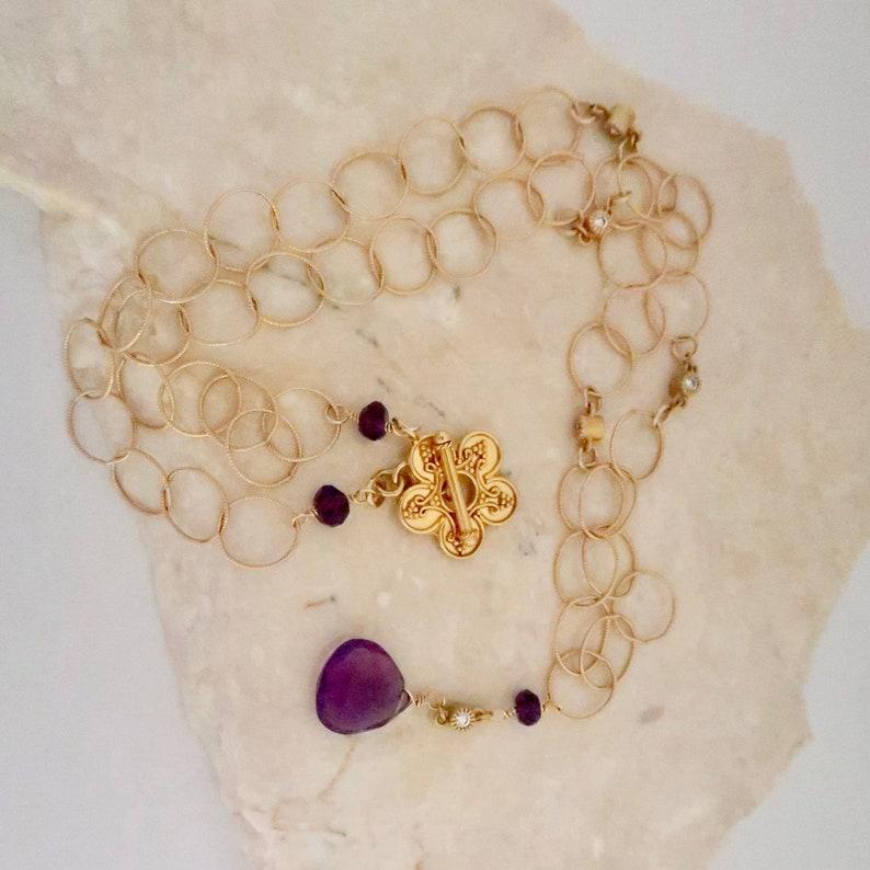 Amethyst Drop Pendant Necklace February Birthday Purple image 0