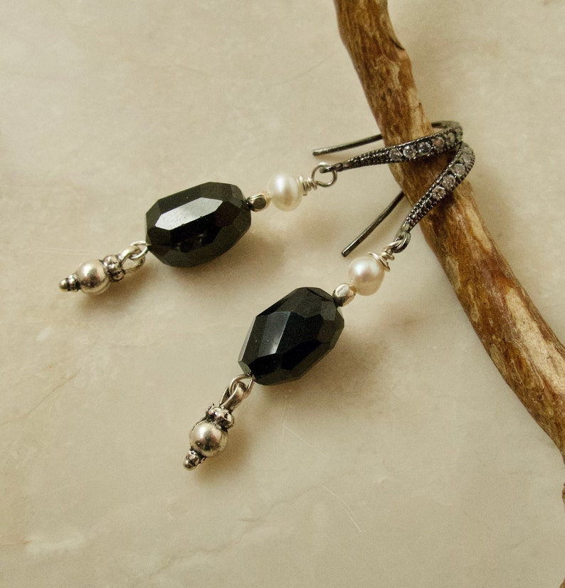 Black Spinel Earrings Sterling Black Spinel with Dangle image 0