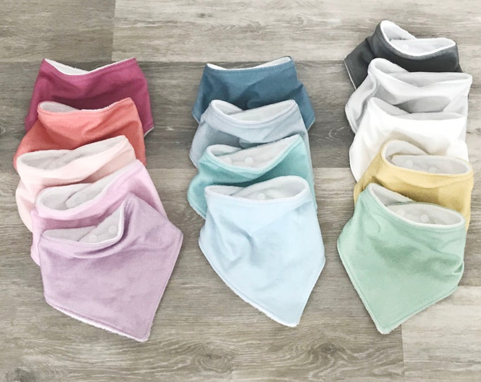 baby bib toddler bandana bandanna bib teething bib drool bib baby shower gift adjustable snap absorbent child bib you pick color