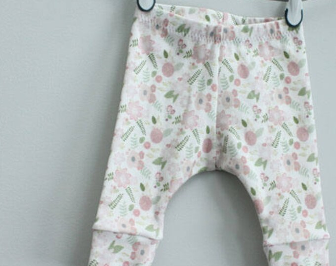 Baby leggings blush floral flower lavender 0-3 months Organic PETUNIAS modern newborn baby shower gift photo prop hospital outfit accessory
