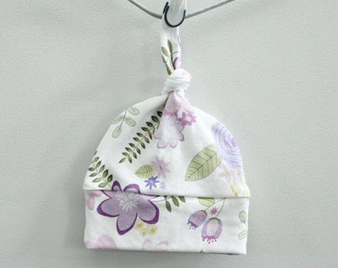 Baby Hat floral lavender purple Organic knot by PETUNIAS farmhouse flowers modern newborn shower gift photography prop outfit accessory girl