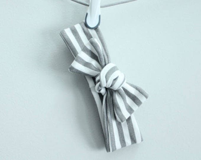 headband baby grey stripe Organic knot by PETUNIAS  modern newborn shower gift photography prop outfit accessory girl