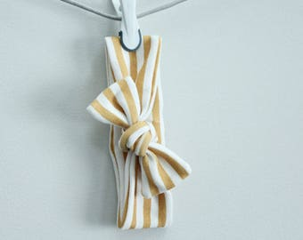 headband baby gold stripe Organic knot by PETUNIAS  modern newborn shower gift photography prop outfit accessory girl