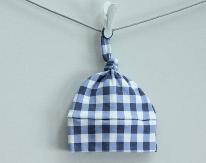 Baby Hat blue buffalo plaid check Organic knot PETUNIAS modern newborn baby shower gift photo prop hospital outfit accessory