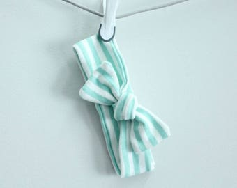 headband baby mint stripe Organic knot by PETUNIAS  modern newborn shower gift photography prop outfit accessory girl
